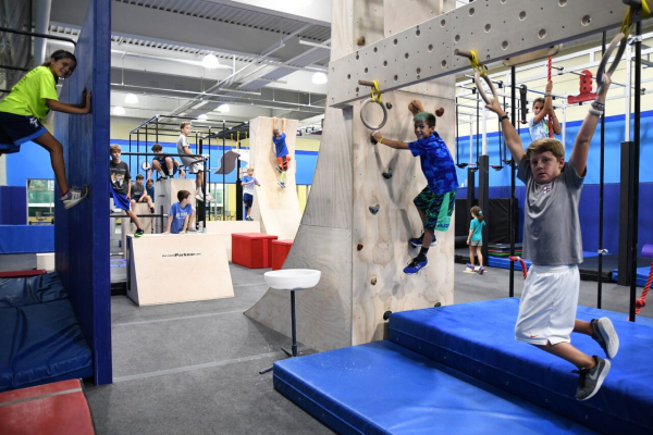 State-of-the-art ninja facility including obstacles such as a salmon ladder, jumping spider, 2 warped walls, devil steps, flywheels, a rotating traverse box, sky hooks, cliffhangers, flying bars and more. This facility is for athletes age